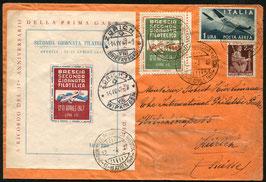 """Italien 12.4.1947 von Brescia nach Zürich mit Sonderblock und Vignette """"Seconda Giornata Filatelica"""""""