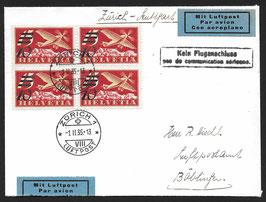 1. Februar 1935 ERSTTAG F19 im VBL auf FLP Brief nach Böblingen, Deutschland mit Attest