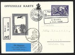 SF 26.3c 1. Internationale Binnenschiffahrts-Ausstellung Basel Offiz. Karte mit eingedruckter Vignette WV 26.3a
