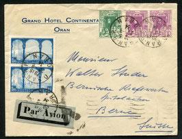 ALGERIEN 20.9.1934 FPL Brief von Oran nach Bern, Schweiz