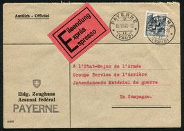 10.6.1940 Amtl. Express-Brief von Payerne an Feldpost Adresse, Eidg. Zeughaus
