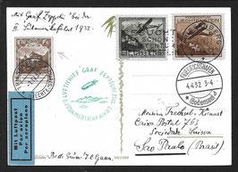 5./13.4.1932 2. Südamerikafahrt 1932 auf AK ab Triesenberg, Liechtenstein mit 95B, 1.20Fr. Burg Vaduz