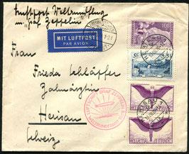 15.8./4.9.1929 WELTRUNDFAHRT Zeppelin Fr'hafen - Fr'hafen portogerecht nach Herisau  Frankatur!