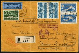 20./23.3.1932   Zeppelin 1. Südamerikafahrt 1932 eingeschrieben nach Joao Pessoa, Brasilien