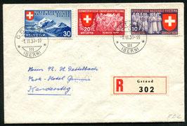1939 FDC Gstaad 1.2.1939 Satz fr./dt./it. auf R-Brief nach Kandersteg