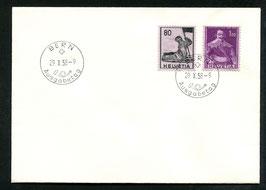 29.10.1958 FDC Historische Bilder Papieränderungen Z339 +Z341 ohne Adresse