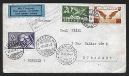 """20.7.1929 FLP Brief von Genf nach Budapest, Ungarn mit Hinweisstempel """"Kein Fluganschluss"""""""