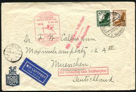 K208  3.10.1934 Katapultflug Dampfer Bremen - Southampton nach München