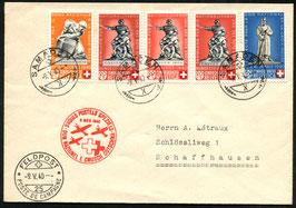 9.5.1940 Nationalspende und Rotes KreuzSamedan via FP25 nach Schaffahusen