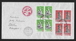 9.5.1940 Nationalspende und Rotes Kreuz Samaden via FP23 nach Basel