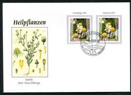 1.3.2005 FDC  Kamille der Erstauflage 2003 und Marke des Neudrucks 2005 selten nicht im Katalog verzeichnet