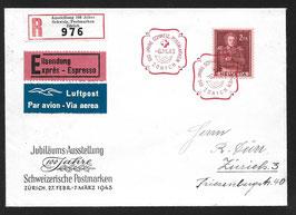 6.3.1943 R-Expressbrief  100 Jahre Schweiz. Postmarken ABART Doppelprägung SBK 251.DP1.