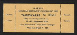 1938 TAGESKARTE zur Nationalen Briefmarkenausstellung AARAU 1938