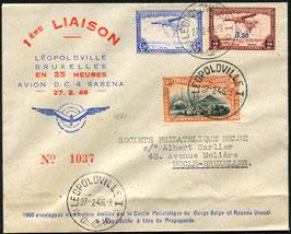 BELGISCH KONGO 1946 Erstflug Leopoldville nach Bruxelles mit schöner Frankatur