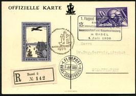 SF26.3 c 1. Int. Binnenschiffahrts-Ausstellung Offiz. Karte mit eingedruckter Vignette