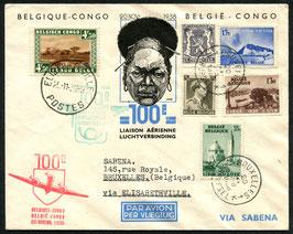 FF 38.4 20.11.1938 Brüssel Leopoldville zur 100 Luftverbindung