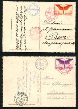 12.10.1930 Zeppelinpost Bern-Basel-Zürich LZ127 auf beiden Landungskarten Bern und Basel im Set