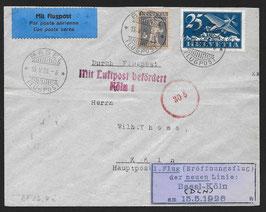 RF26.4i   15.5.1926 EF Basel - Köln der Deutschen Lufthansa mit Attest