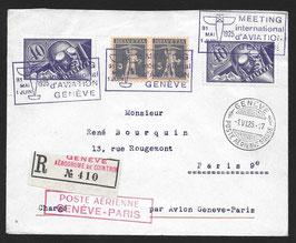 SF 25.4a Int. Flugmeeting Genf Sonderpostabfertigung Genf-Paris o. Vignette
