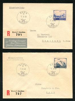 1.10.1948  Landschaftsbilder 1941 - Farbänderung 1948 FDC auf zwei Brieflein