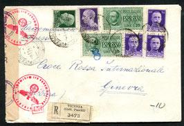 ITALIEN 6.11.1943 R-Brief von Vincenza nach Genf mit deutscher Zensur