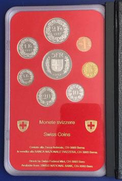 1987 Münzsatz Schweiz in PP (polierte Platte) Hartplastikverpackung und Etui