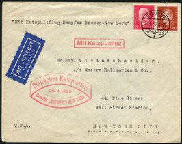 K17  29.4.1930 Katapultflug Dampfer Bremen - New York von Berlin