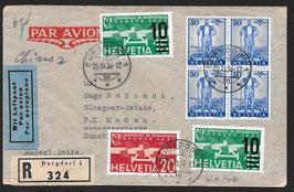 25.11.1936 FLP Brief von Burgdorf eingeschrieben nach Medan Sumatra, Ned. Indien