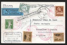 12.10.1930 Schweizer Fahrt mit Landungen in Bern und Basel nach Bruxelles, Belgien postlagernd