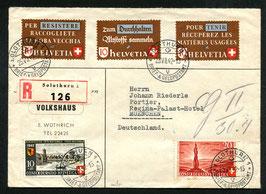 23.7.1942 Toller Brief eingeschrieben von Solothurn nach München (Altstoffmarken d+f+i)