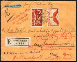 9.9.1925   FLP Brief eingeschrieben von Zürich nach Hong Kong mit SF25.7 Zürich - Mailand