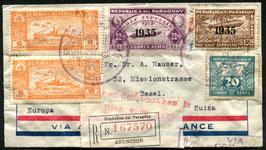 PARAGUAY 23.11.1935 Zeppelinrückflug eingeschrieben via Stuttgart nach Basel, Schweiz