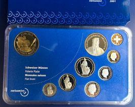 2001 Münzsatz Schweiz in PP (polierte Platte) Hartplastikverpackung, 5 Fr. Sondermünze Zürcher Sechseläuten