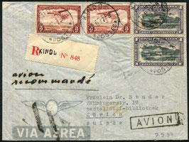 BELGISCH KONGO 1937 FLP Brief, eingeschrieben von Kindu, Belgisch Kongo nach Zürich