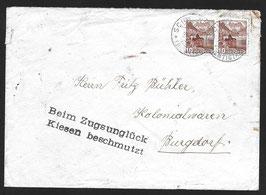 23. 9. 1941 Zugsunglück in Kiesen, seltener Brief mit Sonderstempel