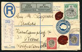 TANGANYKA TERRITORY 23.5.1931 R-FLP Brief von Daressalaam nach Bern, Schweiz