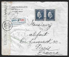 3.3.1937 Schöner FLP Brief von Athen, Griechenland nach Paris, Frankreich mit Devisenzensur, eingeschrieben