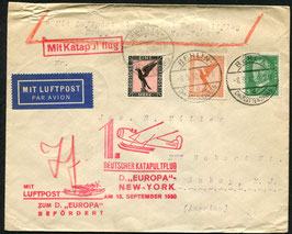 K47c  15.9.1930 Katapultflug Dampfer Europa - New York Nachbringeflug ab Berlin, Charlottenburg