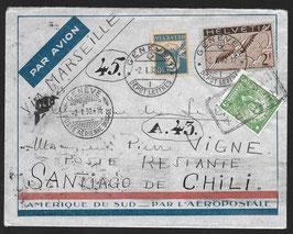 """Genf 2.1.1932 Mischfrankatur, portogerecht auf Flugbrief von Genf nach Chile """"Poste Restante"""""""