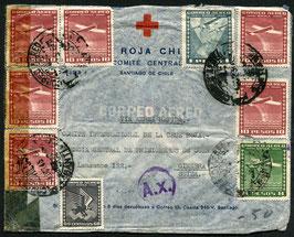CHILE 4.10.1943 FLP Brief vom Roten Kreuz Santiago de Chile nach Genf über Paris zensuriert