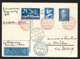 1932 Int. Flugmeeting Zürich. Flug Interlaken-Zürich und weiter mit Flugpost von Zürich nach Bern.
