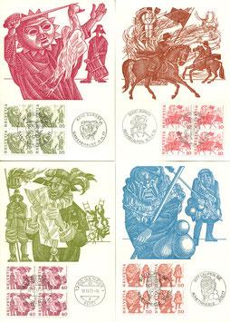 1977 Volksbräuche ohne Fasern Maximumkarten Nr. 595, 597-601, 25. August 1977 mit SSt im VBL