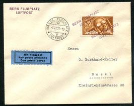 Amtl. Provisorischer Stempel Nr. 10 Bern Flugplatz auf FLP Brief nach Basel 3.12.1929