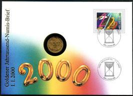 1.1.2000 Goldener Jahrtausend-Numis-Brief mit echtem Goldvreneli JG 1900 - sehr selten!