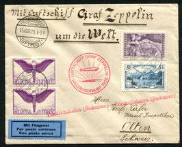 15.8./4.9.1929   Zeppelin-Weltrundfahrt  Friedrichshafen - Friedrichshafen nach Olten
