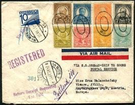 USA   16.7.1931 FLP Brief von Allentown nach Wien auf dem Dampfer Bremen - ship to shore postal service