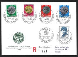 1.6.1962 FDC Pro Patria 1962 eingeschrieben mit Halbmondstempeln (Kellerhals Brief)