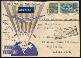 INDIEN 1932 FLP Brief FDC Madras - Karachi mit TATA Sons Ltd.