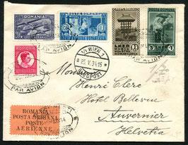 RUMÄNIEN 1934 FLP-Satzbrief von Bucarest nach Auvernier, Schweiz