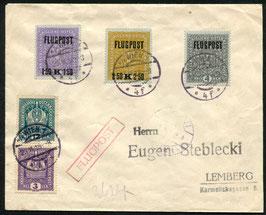 Österreich 28.6.1918 Bedarf von Wien nach Lemberg (neue Flugpostmarken)